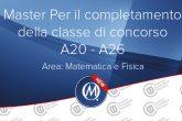 Master per il completamento della classe di concorso area matematica e fisica